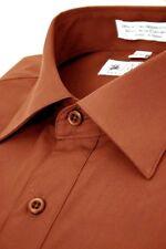 Paolo Giardini Men's Dress Shirt Convertible Cuffs Cotton Blend Solid Rust