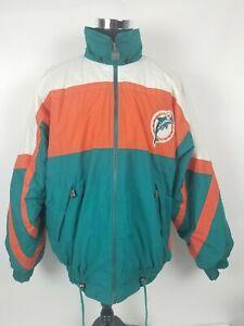 Vintage Miami Dolphins NFL Jacket Embroidered  Puffy Nutmeg Campri Size XL