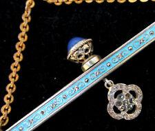 Antique Enamel Purse FRAME c.1910-20s Blue Chalcedony Cabochons Bag Jewel Clasp