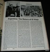 JUAN & ISABEL PERON 1972  RETURN TO POWER IN ARGENTINA PHOTO NEWS FEATURE