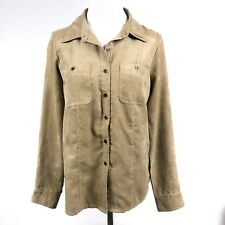 Croft & Barrow Faux Suede Brown long sleeve button down shirt Size small