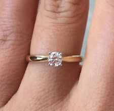 Certified 18k Yellow Gold Natural Diamond Solitaire Engagement Ring