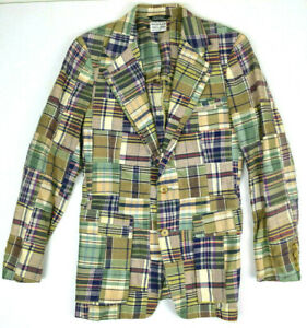 Vintage Polo Ralph Lauren Hand Wove Madras Blazer Sport Coat XS/S USA Union Made