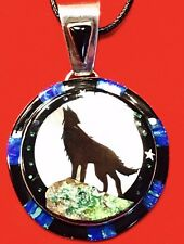 Native American Jewelry Micro Inlay Starry Night In the Desert Wolf Pendant