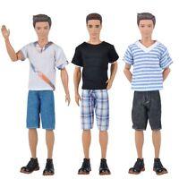 3 Sets Dolls Clothes Casual Wear Suit Tops Pants Outfit For Barbie Ken Dolls A
