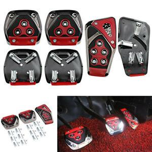 Red Non Slip Sport Foot Pedal Brake Pad Covers For Manual Transmission Car 3Pcs