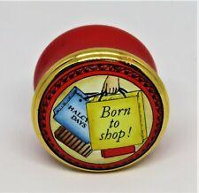 "New listing Halcyon Days English Enamel Box - ""Born To Shop!' - Shopping Bags"