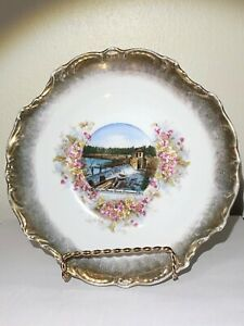 Vtg Advertising Plate - Dam And Power House Greenwood Wisconsin Made In Germany