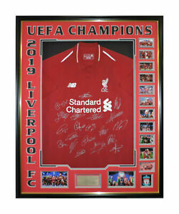 LIVERPOOL FC UEFA CHAMPIONS LEAGUE WINNERS 2019 SIGNED FRAMED JERSEY