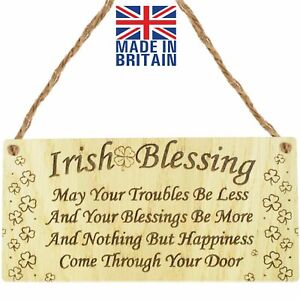 Irish Blessing Happiness St Patricks Day Friendship Gift Plaque Lucky House Sign