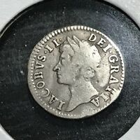 1686 GREAT BRITAIN SILVER 2 PENCE KING JAMES