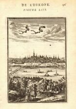 VIENNA WIEN. Decorative view of the city. Figures. Boats. 'Vienne'. MALLET 1683
