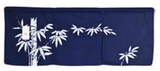 "34""W x 12.5""L Indigo Noren Curtain Tapestry 3-Panel Sushi Bar Bamboo/Made Japan"