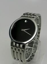 Mens Authentic Swiss Movado Esperanza Black Museum Dial Stainless Watch 0606042