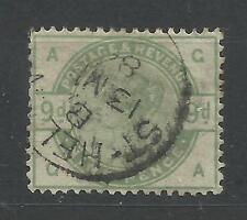 1883/4 Sg 195, 9d Green (GA) Fine used.