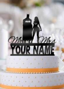 Personalized Batman and Wonder Woman with Name Wedding Cake Topper