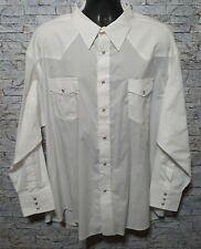 Wrangler Men's White Long Sleeve Pearl Snap Button Western Cowboy Shirt Big 3X
