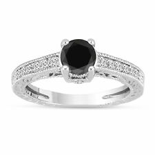 1.24 Carat Platinum Enhanced Black Diamond Engagement Ring Vintage Antique Style