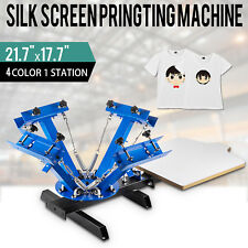 T-shirt 4 Color Screen Printing Press Machine Silk Screening Pressing 1 Station