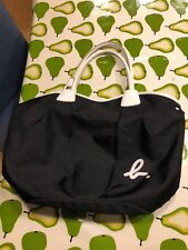Agnes B Voyage Black Polyester Weave Soft Bowling Bag Style Patent Handles