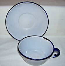Antique Graniteware Cup and Saucer White with Blue Rim Enamelware
