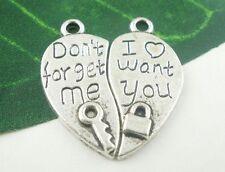 """Pendentif Coeur separable """"Don't forget me"""" """"I want you"""" couleur argente Pendant"""