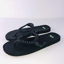 Sanuk Black Flip Flops 8 Bling Rhinestones