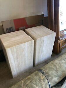 2 Travertine marble pedastal table bases