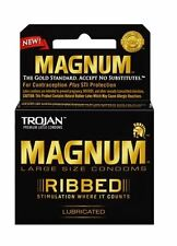 TROJAN Magnum Ribbed Lubricated Latex Condoms 3 ea (Pack of 2)