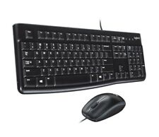 New Logitech MK120 Wired Desktop Keyboard and Mouse USB Black Quiet Typing