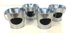 Metal Mini Chalkboard Buckets Silver Black Handles Set Of 4