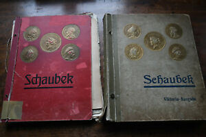 SÜDAMERIKA - zwei alte Schaubek Schwarten mit losen Marken + Tüten aus Nachlass