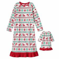 Reindeer Girls Nightgown SZ 6X+ 18 in Doll Nightgown Fits 18 in  American Girl