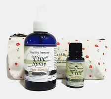 """5"" Healthy Immune Spray 4oz with  PURE 15ml oil refill  ""5 thieves"" blend & bag"