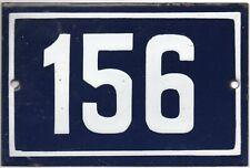 Old blue French house number 156 door gate plate plaque enamel metal sign steel