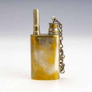 Antique Silver Plated Brass - Pocket Travel Inkwell Ink Bottle & Pen Set