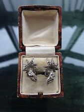 Pretty Vintage 1950's Silver Tone Marcasite Floral Scroll Clip On Earrings
