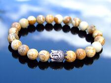 Buddha Picture Jasper Natural Gemstone Bracelet 6-9'' Elasticated Healing Stone