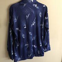 Vintage Wards Men's Shirt Polyester M Galactic Modern Disco C4