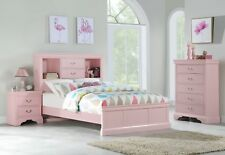 Light Pink Classic Bedroom Furniture Wooden 3pc Set Twin Bed Chest Nightstand