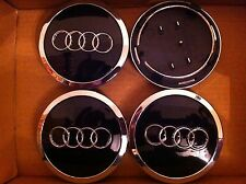 AUDI ALLOY WHEELS CENTER CAPS SET (4) BLACK Face 68mm Clip 66mm 4B0 601 170 A