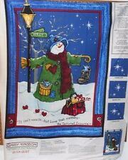 """1 """"Tattered Snowman"""" Christmas Lap Quilt/Wallhanging fabric Panel"""