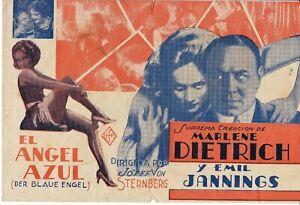 "MARLENE DIETRICH ""THE BLUE ANGEL"" 1932 COLOR MOVIE HERALD"
