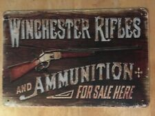 Winchester Rifles Ammunition firearm Guns Ammo Hunting Rustic metal tin sign