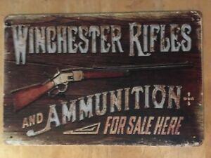 Winchester Rifles Ammunition firearm Guns Ammo Hunting Rustic metal tin sign