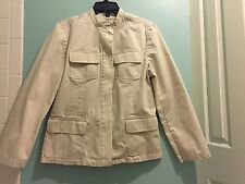 Louben Womans Size 12 Beige Stone Jacket 100% cotton lightweight