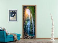 3D Cave Waterfall Self-adhesive Door Decal Bedroom Door Stickers Decor Mural