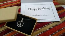 Happy Birthday Silver Peace Charm Necklace Gift Present with Card and Box