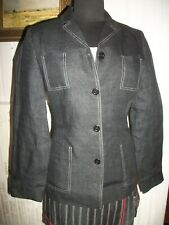 Veste blazer 100% lin gris foncé CAROLL 36FR surpiqué blanc