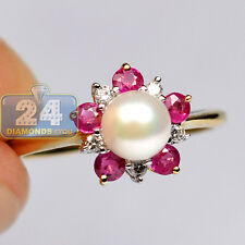 Womens Diamond Sapphire Pearl Gemstone Cocktail Ring 14K Yellow Gold 0.23 ct